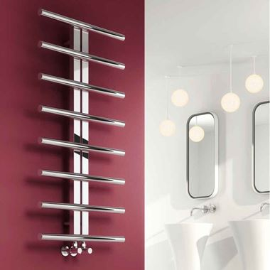 Reina Pizzo Polished Stainless Steel Bathroom Heated Towel Rail Radiator - 1000 x 600mm