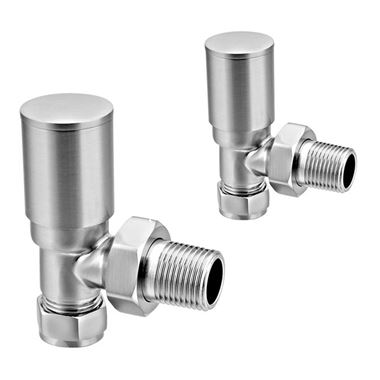 Reina Portland Angled Radiator Valves 15mm - Brushed Chrome