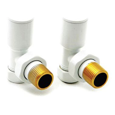 Reina Portland Angled Radiator Valves 15mm - White