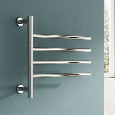 Reina Rance Polished Stainless Steel Dry Electric Swivel Towel Warmer - 475 x 500mm