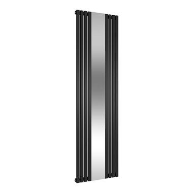 Reina Reflect Vertical Designer Wall Mounted Mirrored Radiator - Black - 1800x445