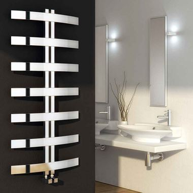 Reina Riesi Polished Stainless Steel Bathroom Heated Towel Rail Radiator - 1200 x 600mm