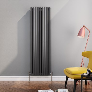 Reina Neva Oval Tube Vertical Designer Radiator - Single Panel - Anthracite - 1800 x 531mm