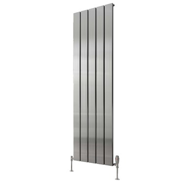 Reina Stadia Single Panel Aluminium Vertical Designer Radiator - Polished - 1800x310