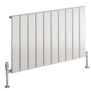 Reina Stadia Single Panel Aluminium Horizontal Designer Radiator - White - 600 x 625mm