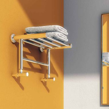 Reina Troisi Polished Steel Designer Heated Towel Rail Rack Radiator - 294 x 532mm