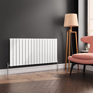 Reina Flat Panel Horizontal Designer Radiator - Single Panel - White - 600 x 1254mm