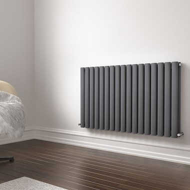 Brenton Oval Double Panel Horizontal Radiator - 600 x 1000mm