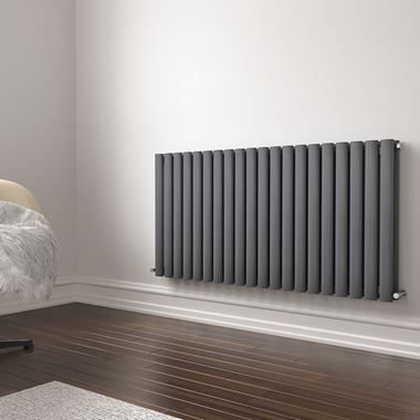Brenton Oval Double Panel Horizontal Radiator - 600mm x 1185mm - Anthracite