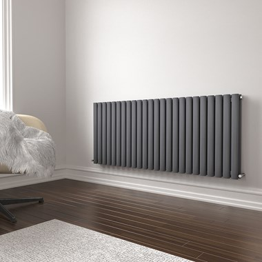Brenton Oval Double Panel Horizontal Radiator - 600mm x 1420mm - Anthracite