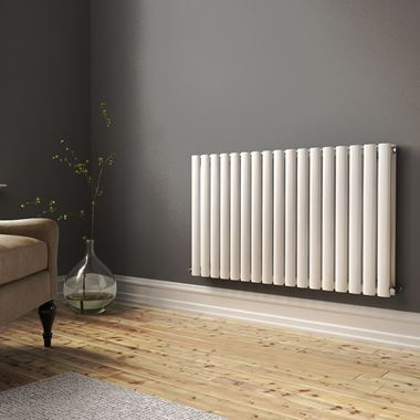 Brenton Oval Double Panel Horizontal Radiator - 600mm x 1000mm - White