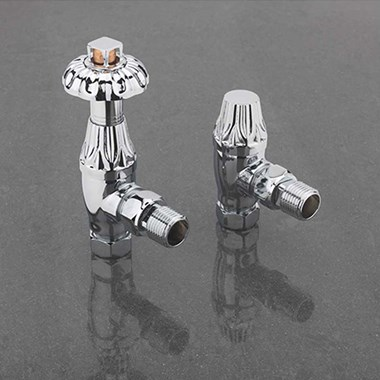 Sagittarius Islington Thermostatic Angled Radiator Valves - Chrome
