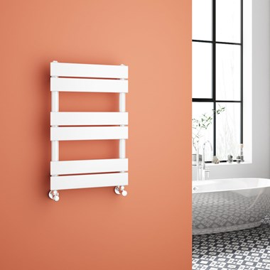 Brenton Avezzano White Flat Panel Heated Towel Rail - Gloss White