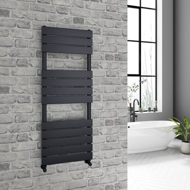 Brenton Avezzano Matt Black Flat Panel Heated Towel Rail