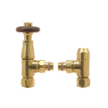 DQ Heating Triumph Luxury Thermostatic Radiator Valve - Angled - Gold