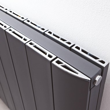 Phoenix Urban Horizontal Designer Wall Mounted Aluminium Radiator - Anthracite - 400 x 1500mm