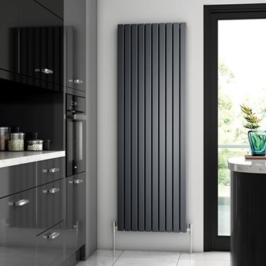 Brenton Flat Double Panel Vertical Radiator - 1800 x 590mm - Anthracite